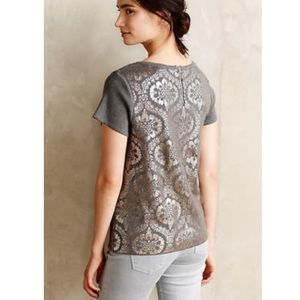 Anthropologie Metallic Floral Grey Top